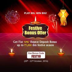 KhelPlay Rummy (@KhelPlayRummy) | Twitter You Don't Want to Miss The Festive Bonus #Offer! Get Flat 10% Repeat Deposit #Bonus Now! #KhelPlayRummy #Rummy