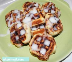 Waffled Cinnamon Rolls-A  tube of refrigerated Cinnamon Rolls.  Heat up your waffle maker and grease it with a bit of non-stick spray. Separate your rolls then place them into a belgian waffle maker. Close the lid and press down slightly.    Set the timer for 2 1/2 – 3 minutes.