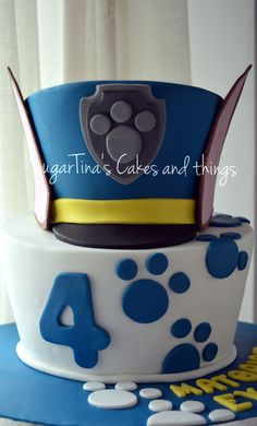 "Chase Cake A two level topsy turvy cake!! The hat of the famous dog ""Chase"" from Paw Patrol!!"