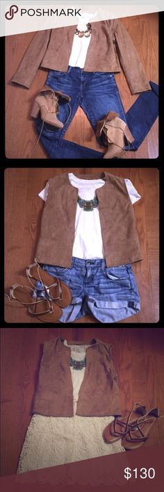 Host Pick NWT Sandro Suede Jacket / Vest NWT Sandro suede jacket. Sleeves zip off to create a vest. Hook&eye close. Versitile - wear as a jacket w/ boots in the fall, or as a vest w/ shorts/skirt + sandals for a cool summer festival look. Sandro 2 is like a S/M. Listing is for jacket only. Rag & Bone boots in separate listing. Shown w/ (adtl items not for sale): white tee, CoH jeans, Len Druskin necklace & Rag & Bone lace-up boots (photo 1); Juicy shorts, necklace & Target sandals (p 2)…