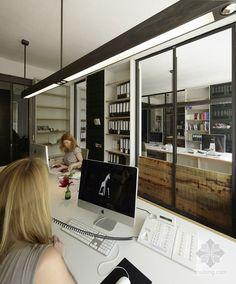 Contemporary Office Interior Design - Office Corridor with Dark ...