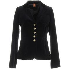 Dondup Blazer (19.600 RUB) ❤ liked on Polyvore featuring outerwear, jackets, blazers, dark blue, long sleeve blazer, collar jacket, dondup, multi pocket jacket and velvet jacket