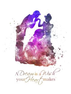 Cinderella Quote ART PRINT illustration, Disney, Princess, Dance, Prince Charming, Mixed Media, Home Decor, Nursery, Kids