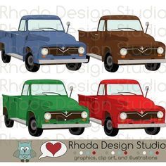 Vintage Pickup Truck Digital Clip Art Retro by RhodaDesignStudio