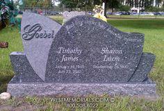 Goebel Curved Design Companion Headstone in Blue Granite
