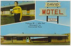 david for nicer people. - (motel)(name)(glasses)(louisiana)(postcard)(marketing) - Route 66, Gjon Mili, Wish You Are Here, Hot Shots, Mexico City, Motel, Vintage Postcards, Vintage Advertisements, Good People