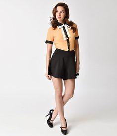 Voodoo Vixen 1950s Style Black Mary Flare Shorts