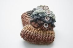 Crocodile Stitch Baby Booties (0-3 months) in Brown Multi...made in Florida