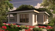 Casa mica organizata pe parter, 104 mp utili- Vedere laterala stanga| Modern single-family dwelling- Street view| Etichete: proiecte case, proiecte case mici, proiecte case mici parter, case mici, proiecte case moderne Three Bedroom House Plan, House Plans One Story, Story House, Design Case, Bed Design, House Design, Home Fashion, Cottage, House Styles