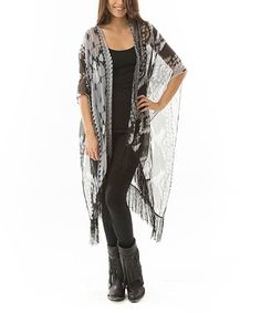 Look what I found on #zulily! Black Sheer Geometric Fringe Wrap by Aziza #zulilyfinds