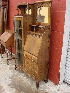 Larkin Antique 1900 S Drop Front Tiger Oak Secretary Desk