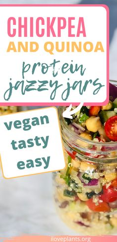Vegan and plant-based recipe, the mason jar quinoa salads are perfect meal prep for vegan lunches or road trips! They are delicious and packed with protein and fiber #veganlunch #veganrecipes #plantbasedrecipes Mason Jar Meals, Meals In A Jar, Vegan Quinoa Recipes, Plant Based Meal Planning, Quinoa Protein, Vegan Lunches, Vegan Dinners, Plant Based Recipes, Road Trips