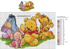 Discover ideas about cross stitch love. Winnie Pooh Baby, Winnie The Pooh Friends, Pooh Bear, Disney Cross Stitch Patterns, Counted Cross Stitch Patterns, Cross Stitch Embroidery, Cross Stitch Love, Crochet Chart, Cross Stitching