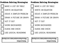 Math = Love: Free Problem Solving Strategies Notebook Insert