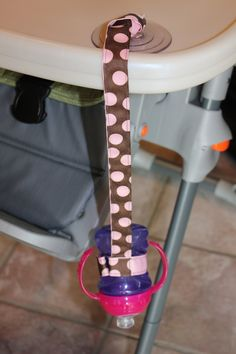 Pink Dot Sippy Strap with Suction Cup by ChunksBabyJunk, $9.00