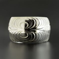 """Abstract Sterling Silver Bracelet by Leslie Wells, Salish artist. 1 1/2"""" x 6"""", $800.00 Cad. Available at Lattimergallery.com."""