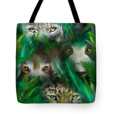 Jungle Eyes - Asia Tote Bag featuring the art of Carol Cavalaris.