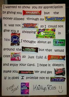 What a cute and creative way to let your teacher know they're appreciated! Candy Inspired Teacher Appreciation Poem-- maybe have pictures of the candy then a big bowl of candy in the teacher's break room. Homemade Birthday Gifts, Birthday Gifts For Best Friend, Diy Birthday, Candy Birthday Cards, Good Fathers Day Gifts, Candy Bar Cards, Mothers Birthday Presents, Candy Bar Signs, Birthday Candy Grams