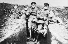 German soldiers from 27th Infantry Regiment are seen wearing early versions of gas masks on the Western Front in 1915, the year poison gases were first employed in warfare.