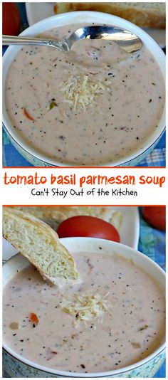 Tomato Basil Parmesan Soup one Pinner:  creamy, cheesy soup is amazing. You won't want to stop after eating the first bite! Plus it's so easy because it's made in the crockpot!