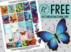 Free Printable Butterflies Planner Stickers from Victoria Thatcher