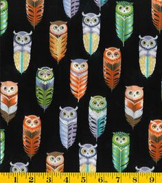 Novelty Cotton Fabric Owl Feather