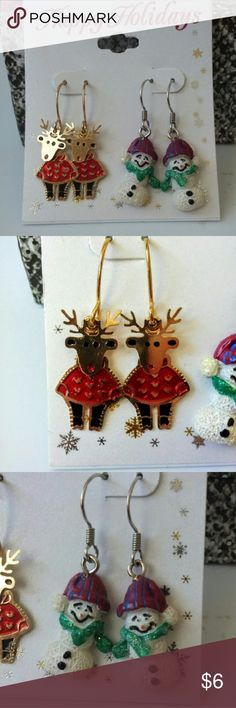 ??NEVER WORN??Holiday Earring Bundle -Cute Holdiay earrings -Never Worn -They come with backs #earring #claires #holidays #reindeer #snowman #winter Jewelry Earrings