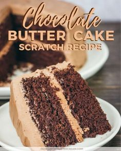 This from scratch chocolate butter cake is super moist and easy to make. Because it's actually a chocolate cake with butter recipe, the cake has a really rich flavor to it that's perfect for birthdays, or any time you feel like homemade chocolate cake. Once you bake the cake, you'll then top it with chocolate buttercream and it's the best treat ever. #chocolatecake #cakerecipe