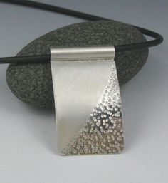 """Zen Silver Textured Rectangular Pendant on Rubber Cord, """"Rectangular Zen Sand Pendant"""" - Silber Metal Clay Jewelry, Wire Jewelry, Pendant Jewelry, Jewelry Art, Jewelery, Silver Jewelry, Jewelry Design, Designer Jewelry, Silver Ring"""