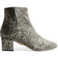 AquazzuraBaroque Embossed Velvet Ankle Boots (€585) ❤ liked on Polyvore featuring shoes, boots, ankle booties, grey, ankle bootie boots, block heel ankle boots, aquazzura, short boots and ankle boots