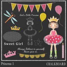 Chalkboard Clipart Princess 1 Little Princess by DigitalPaperCraft, $6.50