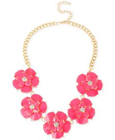 M. Haskell for INC Gold-Tone Fuchsia Flower Frontal Necklace