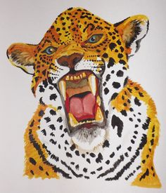 Jaguar roar in water colour