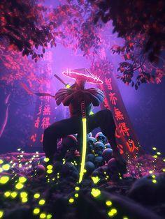 Neon samurai on Behance Dark Fantasy Art, Fantasy Artwork, Futuristic Samurai, Futuristic Art, Game Wallpaper Iphone, Neon Wallpaper, Ninja Wallpaper, Dope Wallpapers, Animes Wallpapers