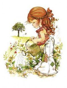 GIrl Watering Flowers (Sarah Kay).... Hailey