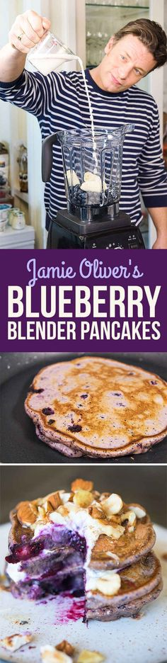 Here's How Jamie Oliver Turns A Healthy Smoothie Into Pancakes Healthy Blueberry Blender Pancakes I Love Food, Good Food, Yummy Food, Delicious Dishes, Healthy Blueberry Pancakes, Blueberry Breakfast, Blueberry Recipes, Brunch Recipes, Breakfast Recipes