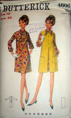 60s A-Line Dress & Coat, Butterick 4606 Vintage Sewing Pattern,  Size 12, Bust 32 by stumbleupon on Etsy