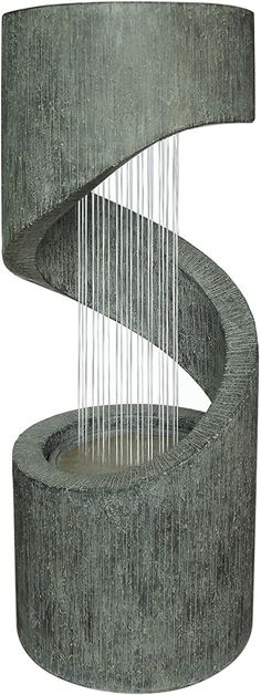 Dehner Mali Garden Fountain with LED Lighting, approx. x cm, Polyresin, Grey Fountain Lights, Decking Area, Water Features, Lighting, Grey, Modern, Outdoors, Amazon, Water Fountains