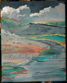 Original Art Abstract Painting Mountain Path with Clouds 8x10 CAAT. $50.00, via Etsy.