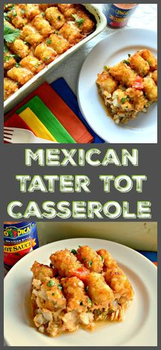 This Mexican Tater Tot Casserole is made with Mexican braised chicken, fajita peppers, and binding it all together is a queso cheese sauce.With Tater Tots on top it can't get much better!