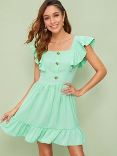 To find out about the Ruffle Hem Butterfly Sleeve Dress at SHEIN, part of our latest Dresses ready to shop online today! Types Of Sleeves, Dresses With Sleeves, Dress Outfits, Fashion Dresses, School Dresses, Embroidery Fashion, Linen Dresses, Latest Dress, Ruffle Dress