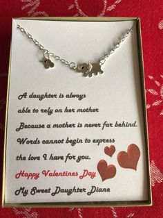 valentine gifts personalized valentines mother and daughter elephant necklace w love poemgift