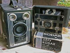 Vintage Antique Cameras Brownie & Jiffy Kodak for Home Decor...use mine in rustic/vintage bedroom decor?