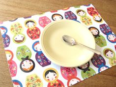 Vinyl wipeable kid placemat with matryoshka print by SetCarre, $8.00