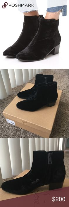 Joie Black Velvet ankle booties - Brand new!! Brand new - super popular velvet ankle booties! Stacked 1.5 in heel and leather sole. Hidden side zip. These are still full price everywhere! Never worn, still has box and duster bag. Joie Shoes Ankle Boots & Booties