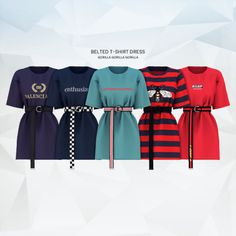 Belted T-Shirt Dress for The Sims 4 Sims Mods, Sims 4 Mods Clothes, Sims 4 Game Mods, Sims 4 Clothing, The Sims 4 Pc, Sims 4 Cas, Sims Cc, Maxis, Smart Casual Outfit