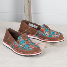 Ariat Cruiser Saddle Tan Aztec Print Loafer- This Aztec Cruiser by Ariat adds a touch of style to any outfit while also keeping you comfortable to and from the barn!