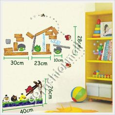 Set Of Disney Angry Birds Removable Wall Stickers Decal Kids Nursery Room Decor on eBay!