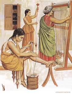 Jewish women of the household weaving during the 1st century AD. (Peter Connolly/Holy Land/user: Aethon)