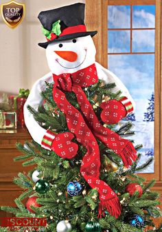Christmas Tree Topper Snowman Top Hugger  Ornament Decoration Holiday Decor Xmas #ChristmasTreeTopper